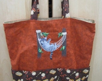 Kitty in a Hammock Relaxing Tote or Eco Friendly Purse