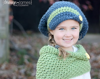 Slouchy Beret w/Matching Cowl Crocheted Cobalt, Clover  Photo Prop Hat Scarf Shawl
