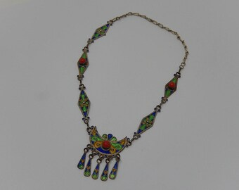 Enamelled necklace from India for children, free shipping