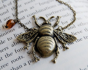 Large Brass Honey Bee Necklace   Bee Pendant   Bumblebee Necklace