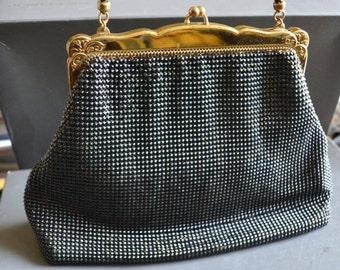 BLack whiting Davis mesh purse 50s evening  handbag