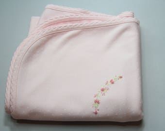 Baby Girl Pima Cotton Blanket with Hand Embroidery, Baby Girl Pink Receiving blanket Pima Cotton Polka Dot Print 2 Ply