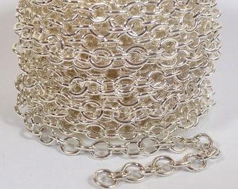 Petit câble lourde chaîne - argent plaqué - CH55 - Choisissez votre longueur