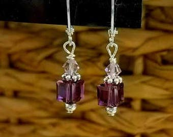 Purple earrings Swarovski Amethyst Crystal earrings Dark Purple  Bridesmaid jewelry Prom jewelry Vintage style earrings Bridal jewelry