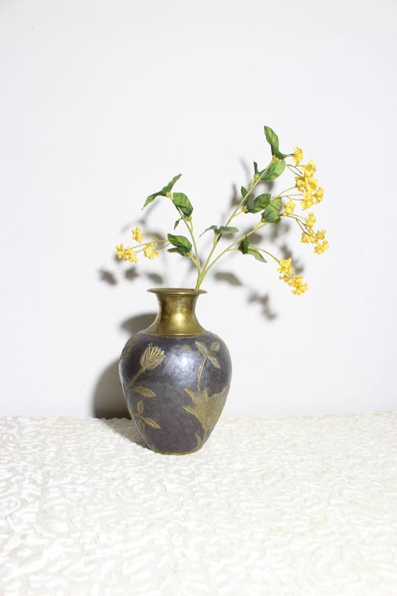 Vintage Brass Flower Vase With Pewter Gray Enamel Made In