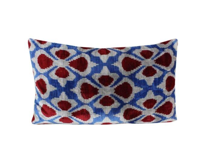 Silk Velvet Ikat Pillow Cover Lp497, Bohemian pillow, Velvet Ikat Pillow, Velvet Pillow, Velvet Pillow Cover, Ikat Pillows, Throw Pillows