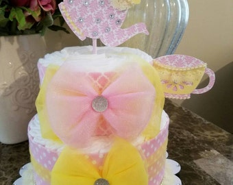Two Tier Pink And Yellow Diaper Cake / Baby Shower Centerpiece / Tea Party Centerpiece / Tea Party Baby Shower