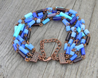 Glass Tube Copper Link Bracelet