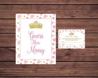 Princess Guess How Many Game, Baby Shower Candy Guessing Game, Pink and Gold Candy Guessing Game, Instant Download   125 Printable