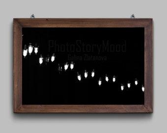 Light photography Dark decor Background photography Black and white photography Mood photo Peaceful wall art Fireflies at Night Light decor