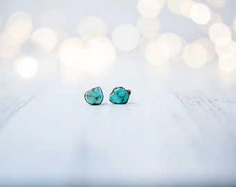 Raw turquoise earrings | Turquoise nugget sterling silver post earring | Turquoise stud earrings | Real turquoise studs | American turquoise