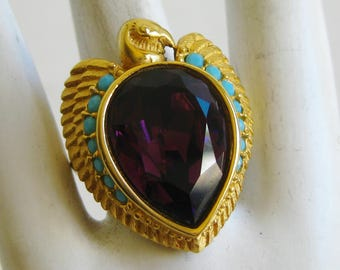 Vintage Ring 90s Elizabeth Taylor for Avon Gold Phoenix Amethyst Glass Jeweled Egyptian Cleopatra Ring size 9