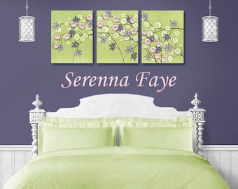 Baby Girl Nursery Decor Wall Art, Large Canvas Art Triptych, Flower Painting in Green, Pink, and Purple - 50x20