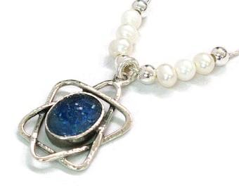 Roman Glass Fantasy Necklace, 925 Silver Judaica, Roman Glass Magen David, Freshwater Pearls, Maghen David Star of David, Israel Jewelry