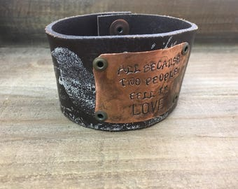 Stamped Leather Cuff--Bird Design-Romance-Word Cuff-