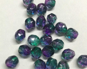 Sale-20 pieces of gradient-glass-cut beads-in violet-blue-green-6mm