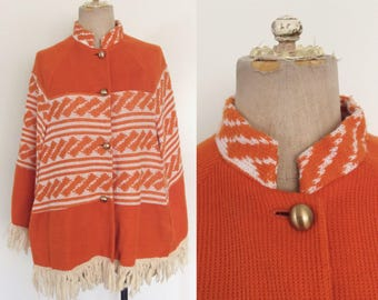 1970's Orange Acylic Knit Poncho Size Fits Most by Maeberry Vintage