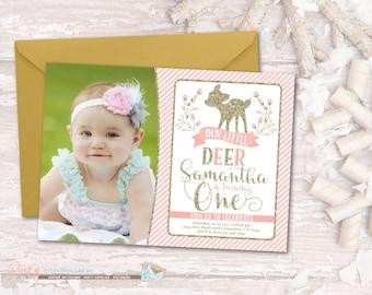 Deer Birthday Invitation, Deer Invitation, Little Deer Invitation, Woodland Birthday Invitation, Woodland Invitation, Deer 1st Birthday