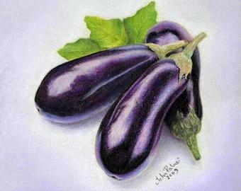 Aubergine, Eggplant - print from my original pastel painting.