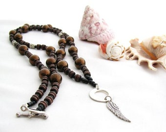 Eco friendly upcycled necklace with angel wing charm