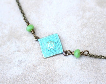 Turquoise and green necklace, Patina necklace, bohemian style choker,  Czech glass, boho chic style