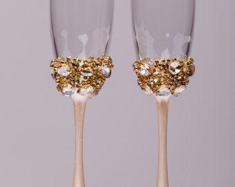 Personalized wedding flutes wedding champagne glasses champagne flutes toasting flutes gold champagne flutes wedding flutes Set of2