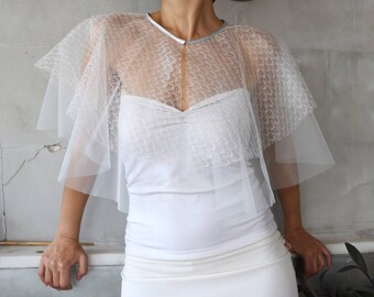 Two Tiers Sheer Bridal Tulle Cape, French  Illusion Tulle, Silver Neck Trim, Capelet Bolero Summer Spring Wedding, Romantic Party Wear Stole