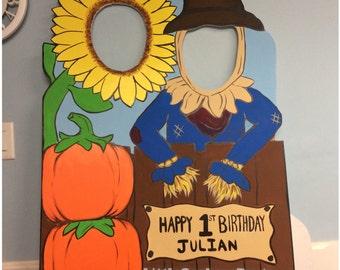 Personalized Scarecrow Pumpkin Photo Op Cutout,