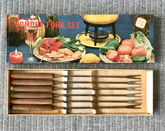 Retro 1960s 6 Piece Fondue Fork Set Stainless Steel with Timber and Coloured Plastic Handles Retro Party Entertaining 60s