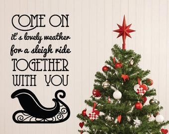 Christmas Wall Decal, Sleigh Ride, Sleigh Wall Decal, Christmas Decor, Home Decor, Christmas Party, Christmas Decoration, Winter Wall Decal