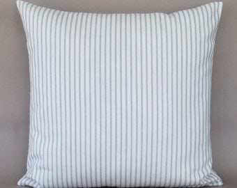 Blue Ticking Stripe Pillow Cover, Decorative Throw Pillow, Blue Accent Pillow, Blue Zipper Pillow, Blue White Pillow, Blue Cushion Cover