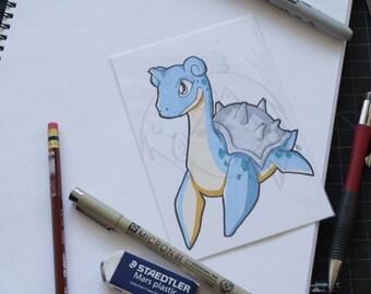 Pokemon Lapras 4x6 marker drawing