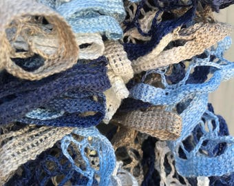 Crocheted scarf, ruffle scarf, variegated scarf, blue scarf