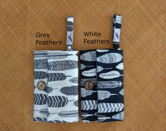 nappy wallet - diaper clutch with waterproof changing mat - changing pad - nappy change wallet - Grey or white feathers