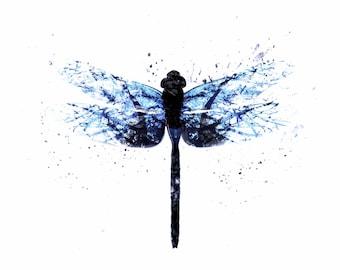 Dragonfly Art Print Blue Alternative Gift Idea Wall Decor Abstract Home Idea Signed Digital Print Vibrant