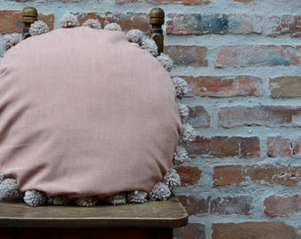 Washed Cotton Pompom Pillow, Wool Pompom Cushion, Pompon Cushion, Rustic, Wool pompoms, Eco friendly