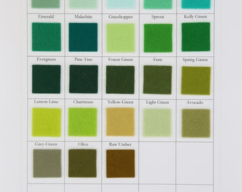 Green Felt, 100% Merino Wool, CHOOSE SEVEN, 8 x 12 Inch Sheets, 20 x 30cm, Felt Fabric, Nonwoven Wool, Applique, Quilting Supply, DIY Felt