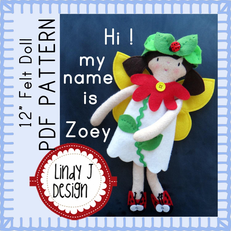 Felt DOLL Sewing PDF PATTERN Rag Doll Pattern Includes Garden