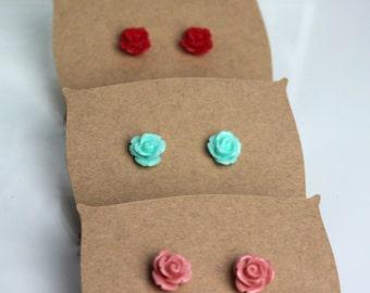 Set of 3 Rose Earrings // kawaii earrings // red, pink & mint earrings