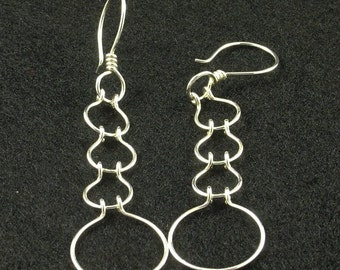 Long Silver Earrings / Handmade Sterling Silver Chain Link Dangle Earring / Light and Easy to Wear