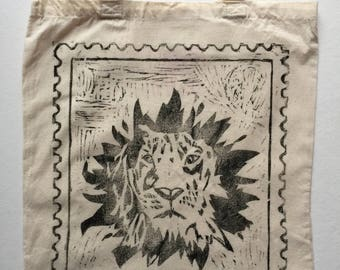 Large Cotton, Tote Bag, Linocut Print, Lion, Stamps, Handprinted, Re-Usable Shopping Bag, Birthday Gift, Party Bag,