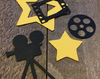 Black Movie Camera Reel and Film and Yellow Star Table Confetti / Decoration Decor Centerpiece Hollywood Theme Party C040