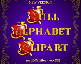 Descendants - Full Alphabet Clipart - 3 Alphabets 104 png files 300 dpi - New Version