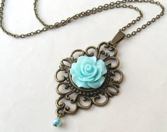Light Blue Rose Necklace with Faux Pearl Drop, Flower Necklace, Victorian Necklace, Blue Necklace