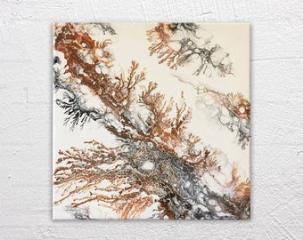 Sulphuric Stream - Abstract Fluid Painting in Black Copper Matte White 12x12