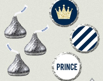 Gold Glitter and Navy Blue Prince Hershey Kisses Labels, Printable Kiss Labels, Baby Shower, Birthday Party, Royal Party, Royal Shower