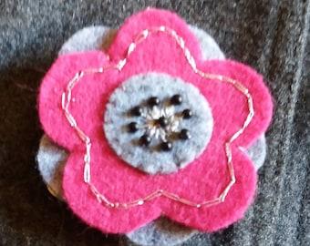 Peony gray and pink felt flower brooch