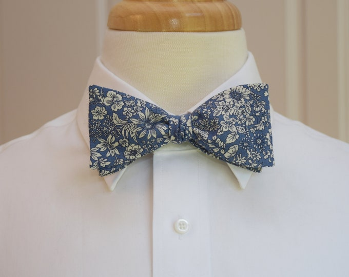 Men's Bow Tie, Liberty of London medium blue/white floral Country Garden print, groomsmen/groom bow tie, wedding bow tie, tuxedo accessory