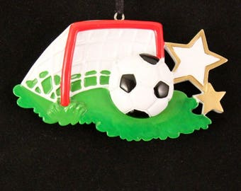 Soccer Ball Hand Personalized Christmas Tree Ornament