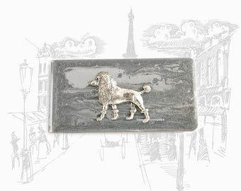 French Poodle Money Clip Inlaid in Hand Painted Glossy Silver Enamel Neo Victorian Money Holder Personalized and Color Options